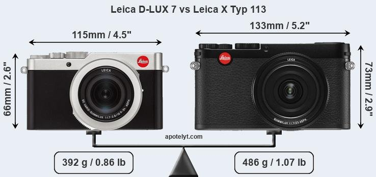 Size Leica D-LUX 7 vs Leica X Typ 113