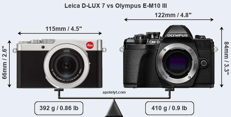 Size Leica D-LUX 7 vs Olympus E-M10 III
