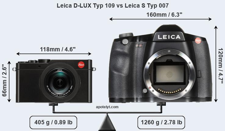 Size Leica D-LUX Typ 109 vs Leica S Typ 007