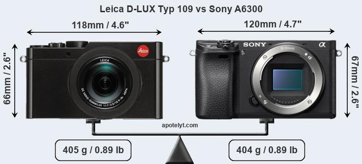 Size Leica D-LUX Typ 109 vs Sony A6300