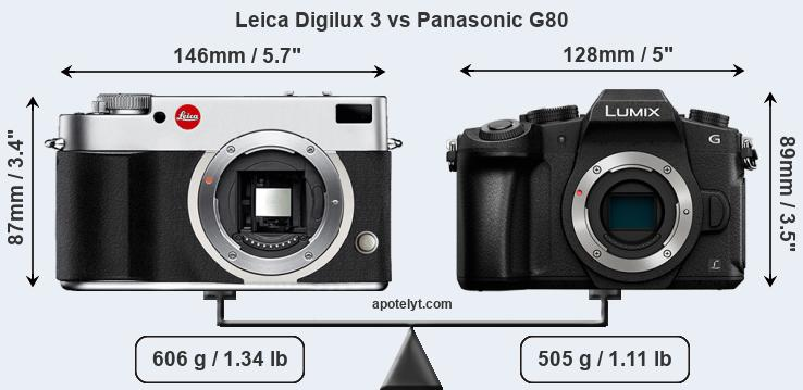 Size Leica Digilux 3 vs Panasonic G80