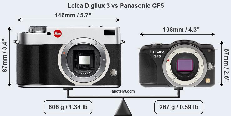 Size Leica Digilux 3 vs Panasonic GF5