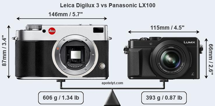 Size Leica Digilux 3 vs Panasonic LX100