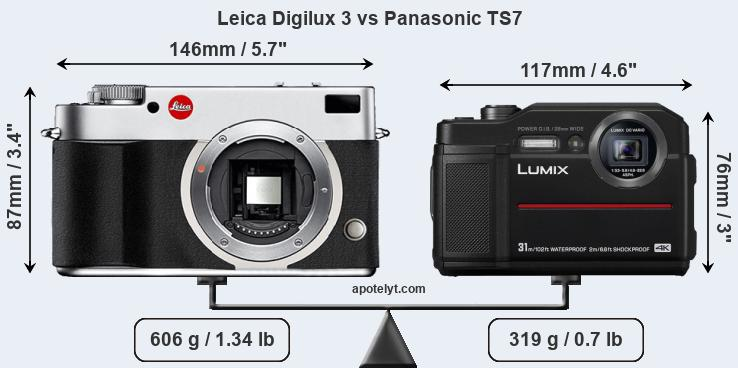 Size Leica Digilux 3 vs Panasonic TS7