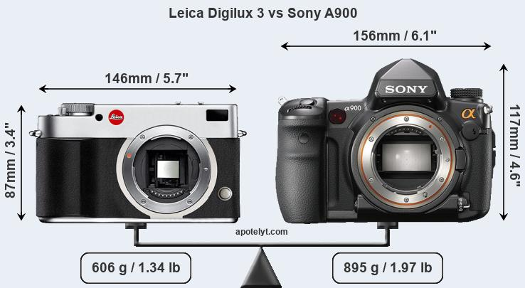 Size Leica Digilux 3 vs Sony A900