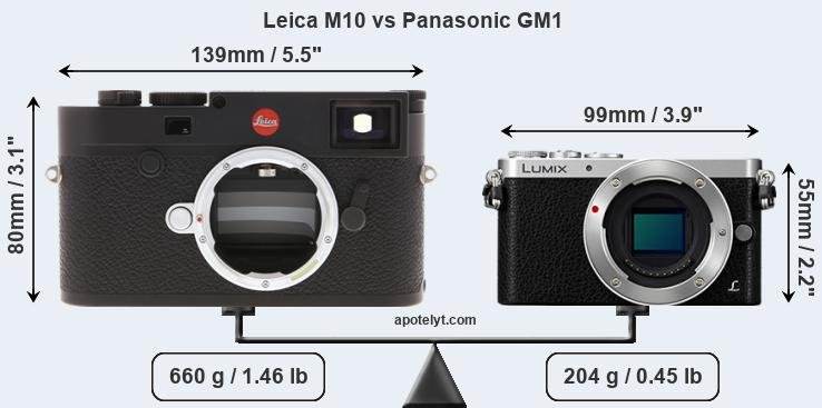 Size Leica M10 vs Panasonic GM1
