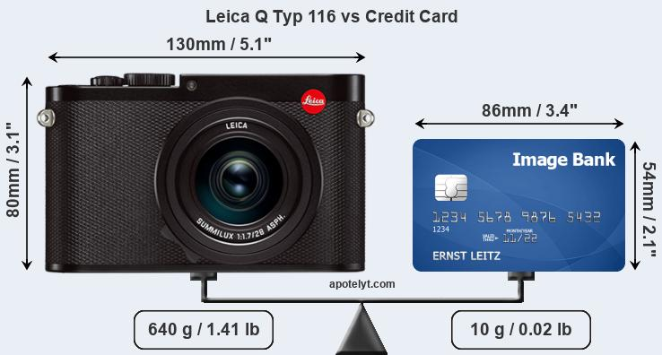 Leica Q Typ 116 vs credit card front
