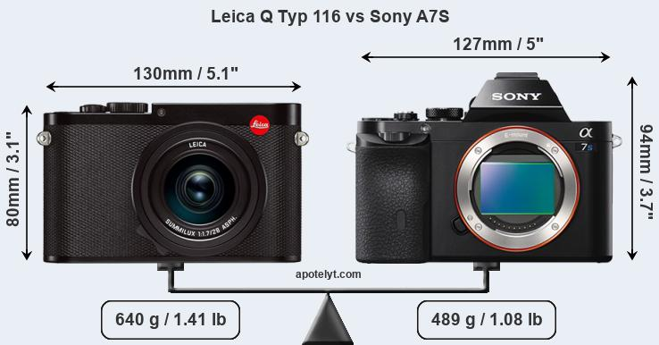 Size Leica Q Typ 116 vs Sony A7S