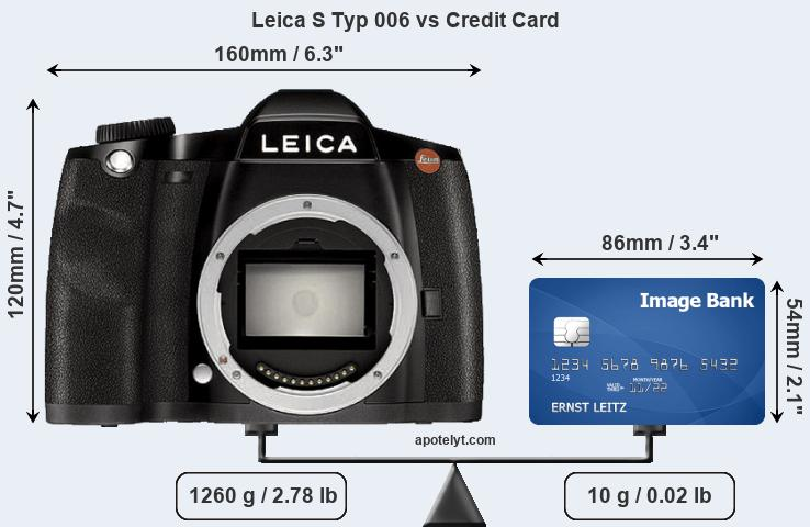 Leica S Typ 006 vs credit card front