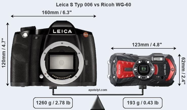 Size Leica S Typ 006 vs Ricoh WG-60
