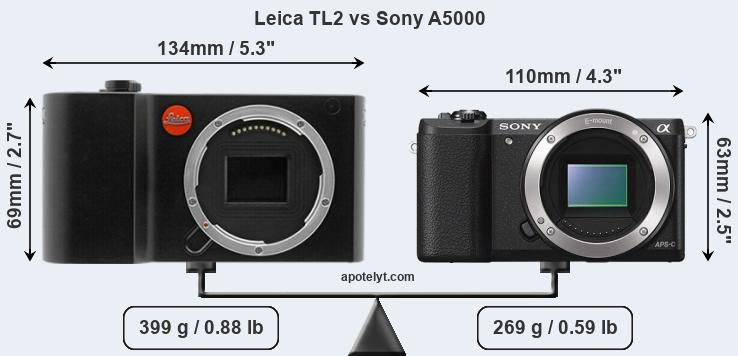 Size Leica TL2 vs Sony A5000