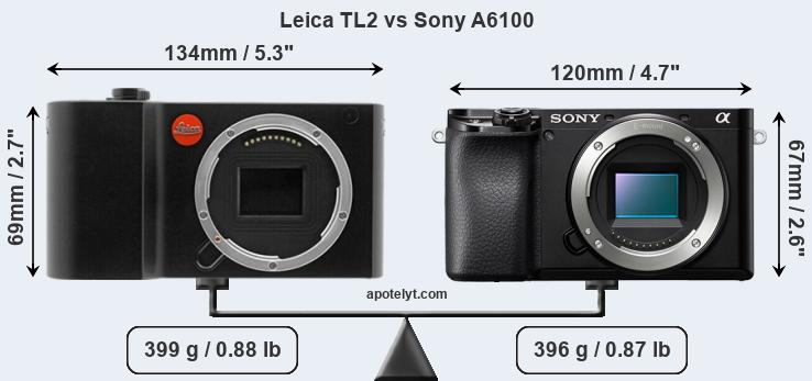 Size Leica TL2 vs Sony A6100