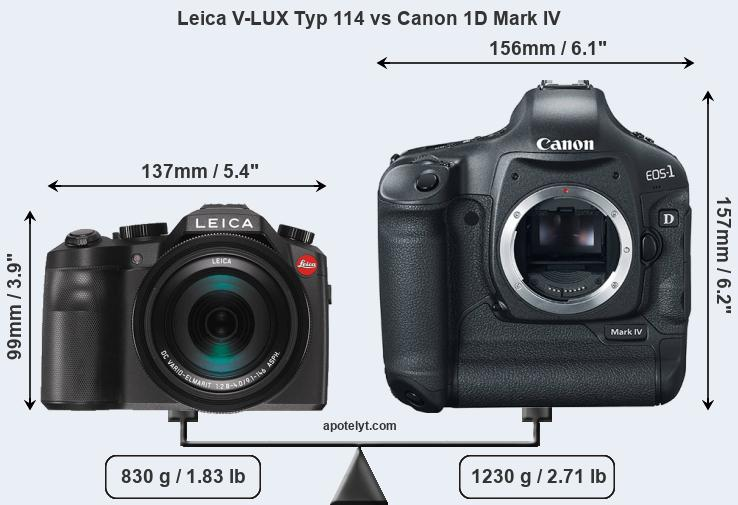 Size Leica V-LUX Typ 114 vs Canon 1D Mark IV