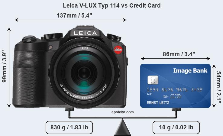 Leica V-LUX Typ 114 vs credit card front