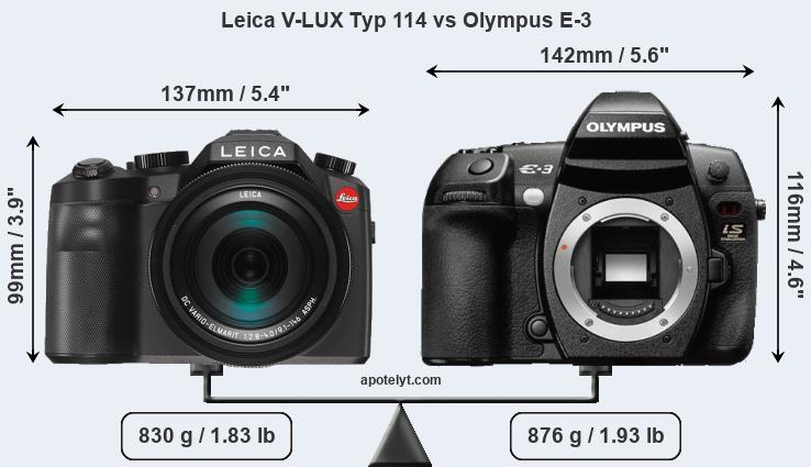 Size Leica V-LUX Typ 114 vs Olympus E-3