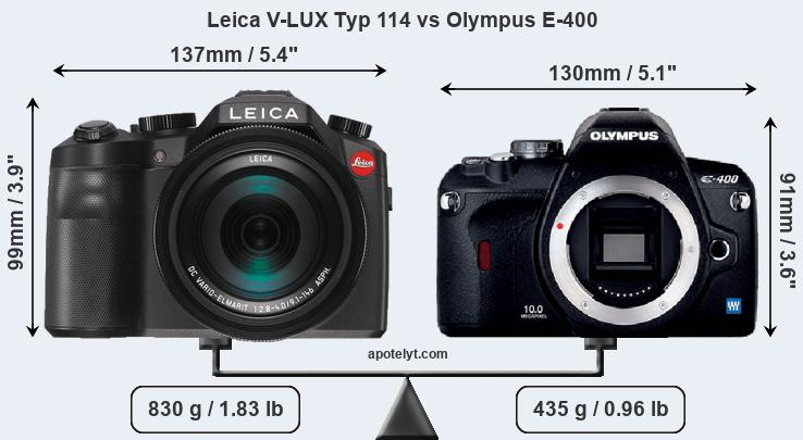 Size Leica V-LUX Typ 114 vs Olympus E-400