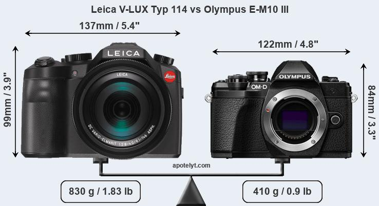 Size Leica V-LUX Typ 114 vs Olympus E-M10 III