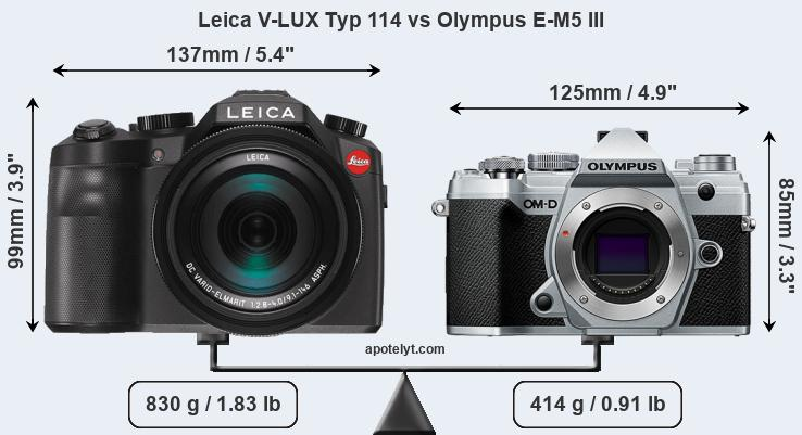 Size Leica V-LUX Typ 114 vs Olympus E-M5 III