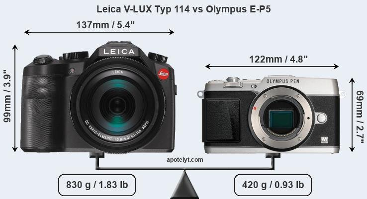 Size Leica V-LUX Typ 114 vs Olympus E-P5