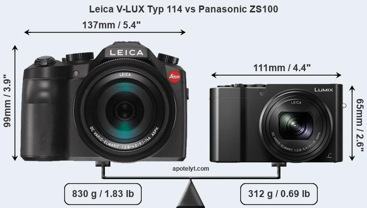 Size Leica V-LUX Typ 114 vs Panasonic ZS100