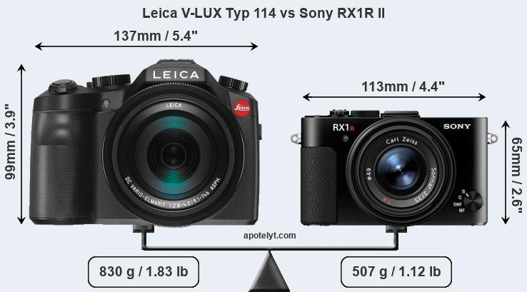 Size Leica V-LUX Typ 114 vs Sony RX1R II