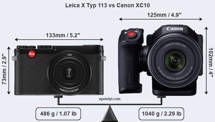Leica X Typ 113 vs Canon XC10 front