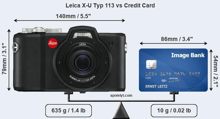 Leica X-U Typ 113 vs credit card front