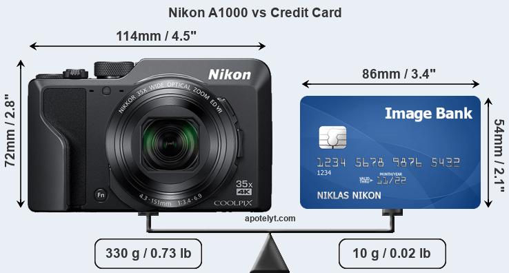 Nikon A1000 vs credit card front