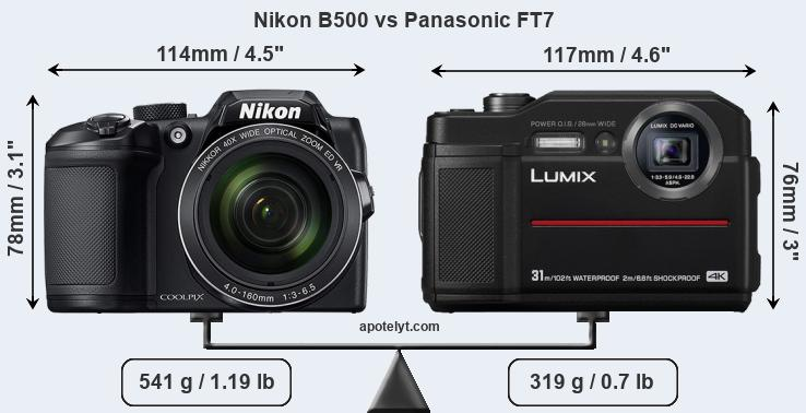 Size Nikon B500 vs Panasonic FT7