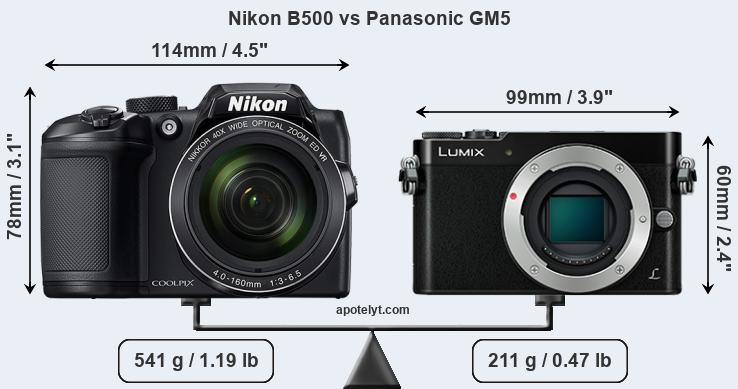 Size Nikon B500 vs Panasonic GM5