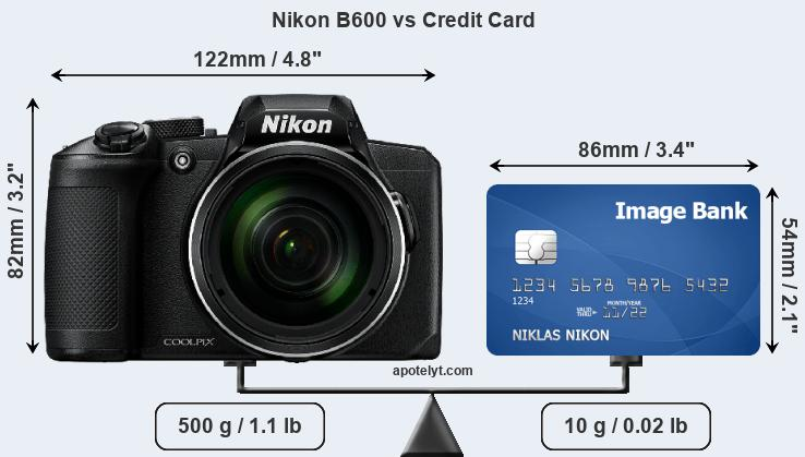 Nikon B600 vs credit card front