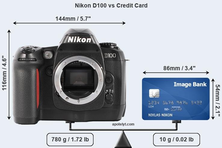 Nikon D100 vs credit card front