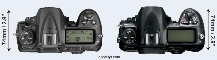 D300 versus D200 top view