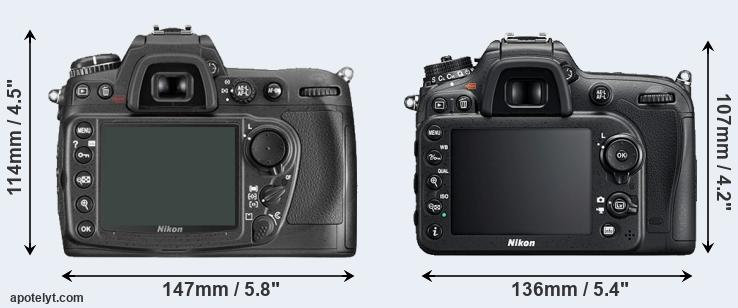 D300 and D7200 rear side