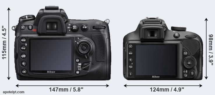 D300S and D3400 rear side