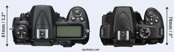 D300S versus D3400 top view