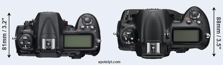 D300S versus D3S top view