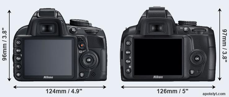 D3100 and D3000 rear side