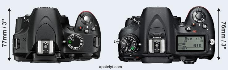 D3200 versus D7100 top view