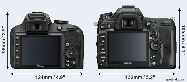 D3300 and D7000 rear side