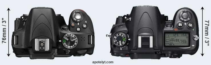 D3300 versus D7000 top view