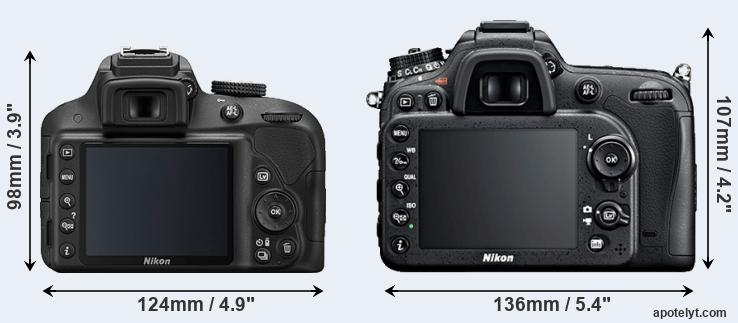 D3300 and D7100 rear side