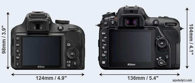 D3300 and D7500 rear side