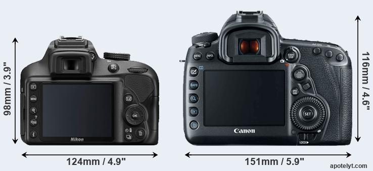 D3400 and 5D Mark IV rear side
