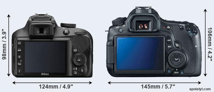 D3400 and 60D rear side