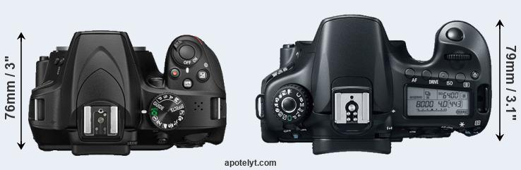 D3400 versus 60D top view