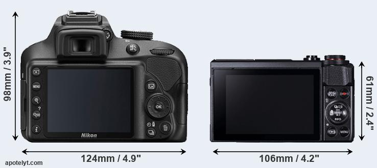 D3400 and G7X Mark II rear side