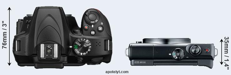 D3400 versus M100 top view