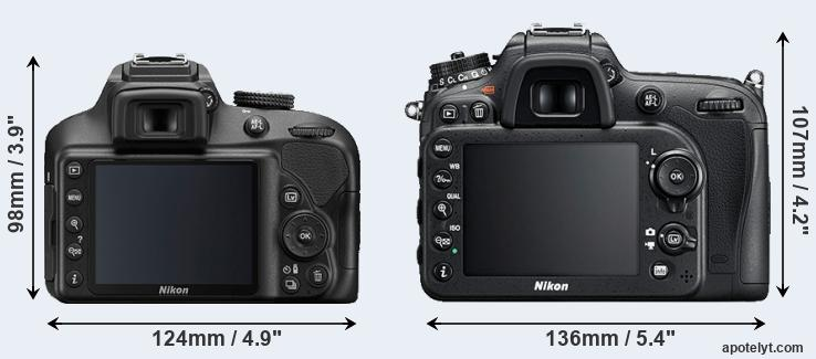 D3400 and D7200 rear side