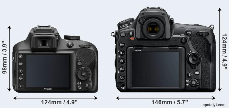 D3400 and D850 rear side